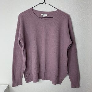 Madewell high low knit pullover sweater purple